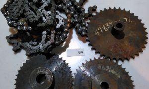 3 Chain drive gears and #40 roller chain.